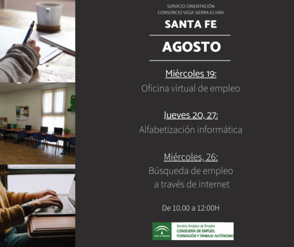 Programación sala de autooientación para el mes de agosto en Santa Fe