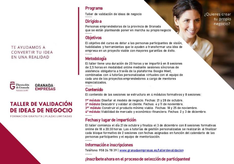 información acerca del taller para emprendedores en Granada