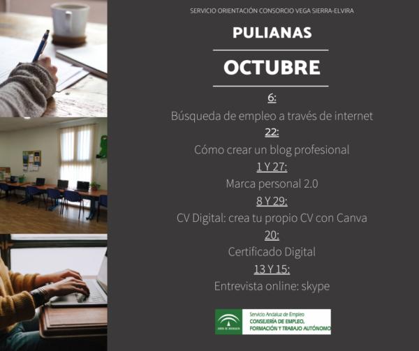 programación sala de autoorientación de Pulianas para el mes de octubre