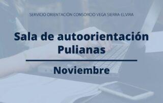 programación sala de autoorientación de Pulianas en noviembre