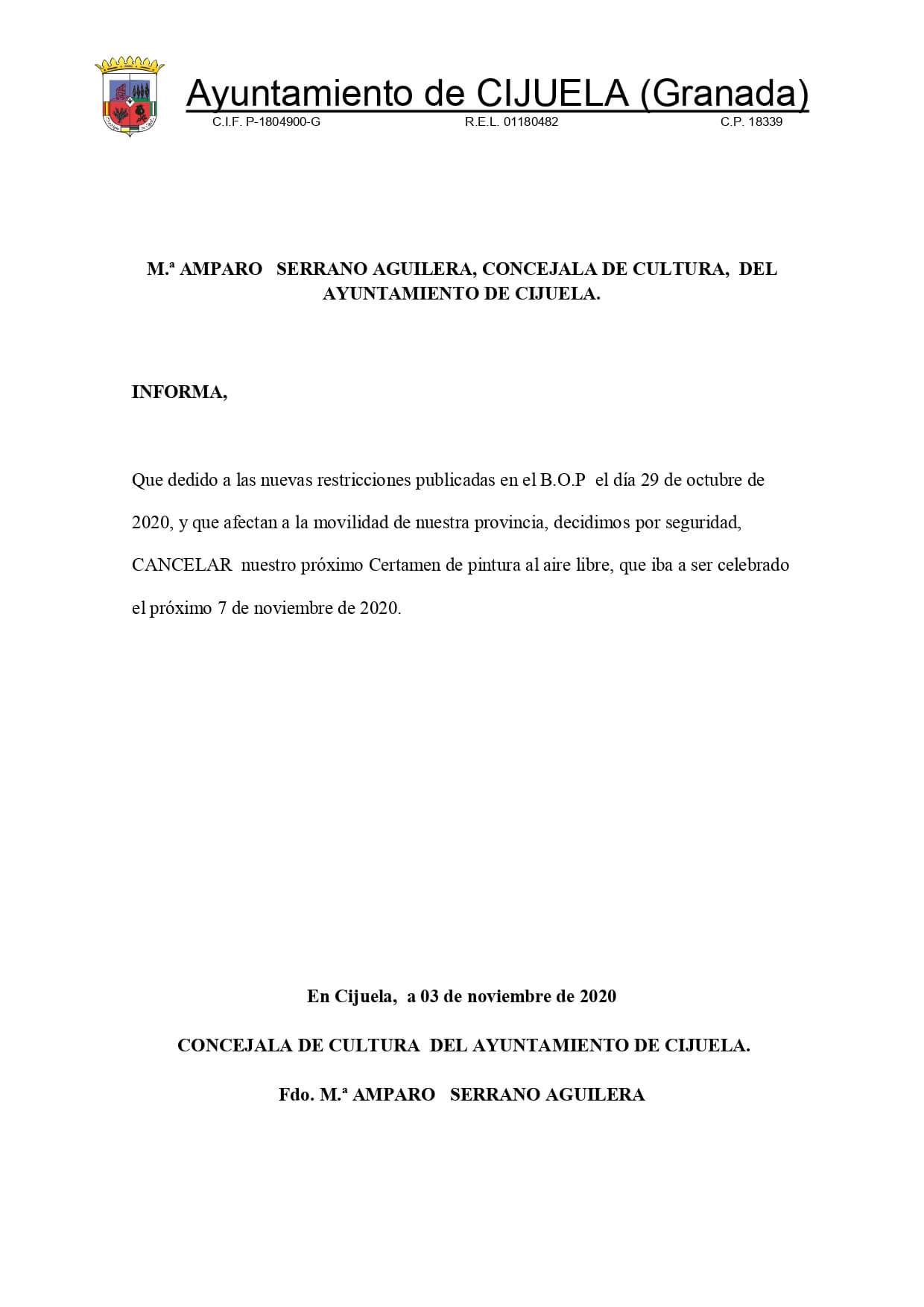 cancelado el certamen de pintura rápida de Cijuela 2020