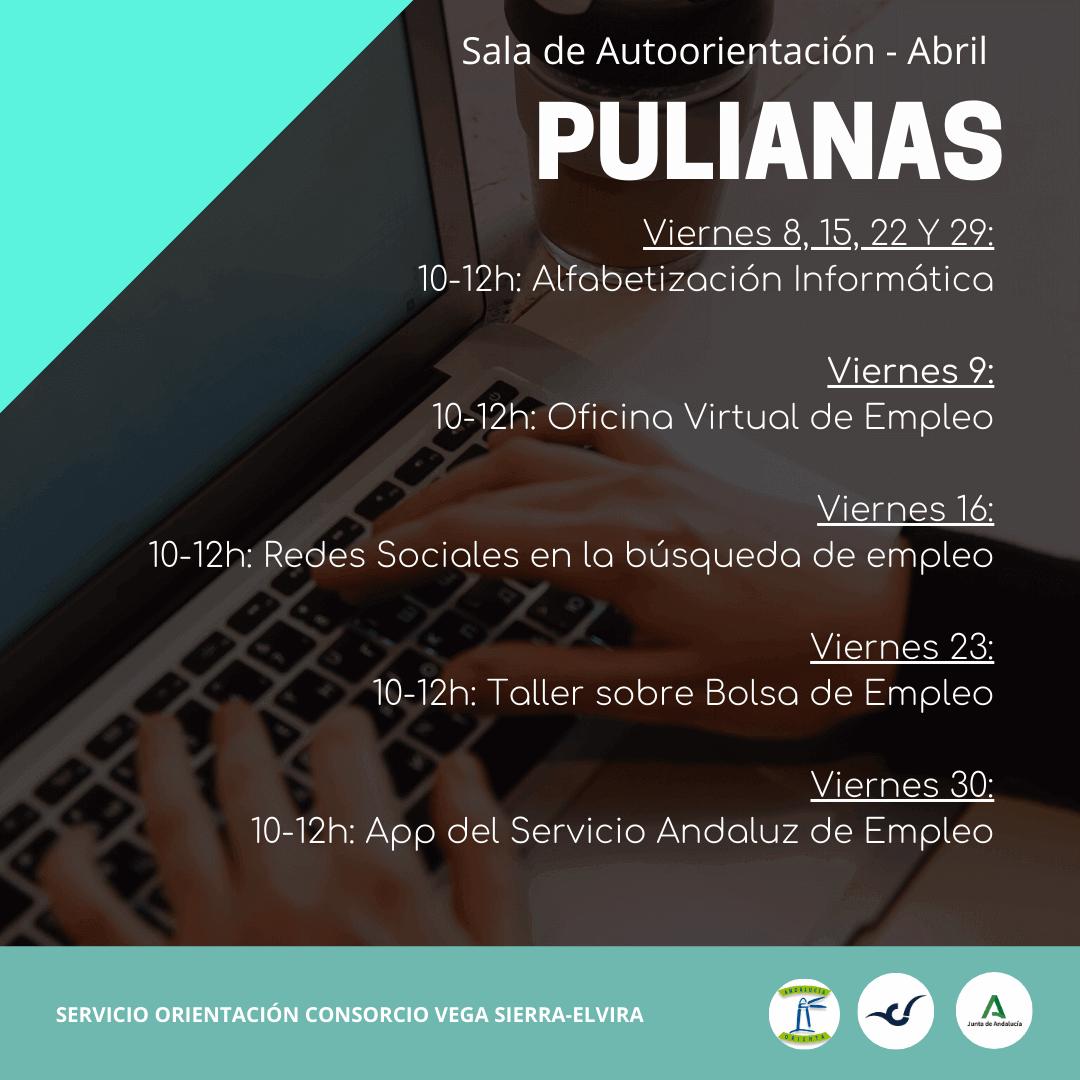 programación sala de autoorientación Pulianas en abril
